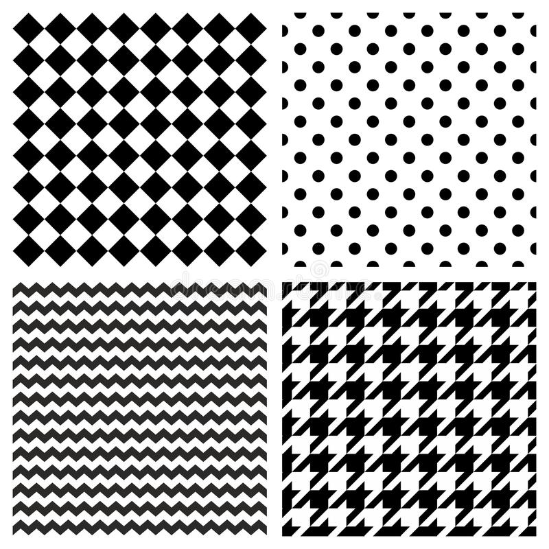Tile vector pattern set with black and white polka dots, zig zag, hounds tooth and stripes background vector illustration