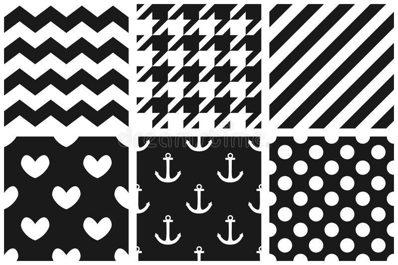 Tile vector pattern set with chevron, zig zag, polka dots, sailor, hearts and stripe background vector illustration