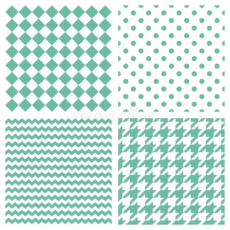 Tile vector pattern set with mint green polka dots, hounds tooth, hearts and stripes on white background royalty free illustration