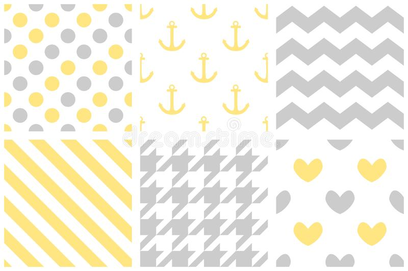 Tile vector pattern set with pastel print on white background royalty free illustration