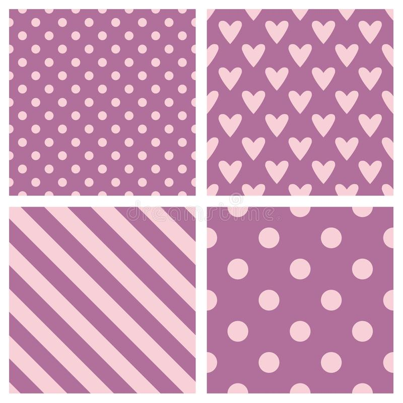 Tile vector pattern set with pink polka dots, hounds tooth, hearts and stripes background royalty free illustration