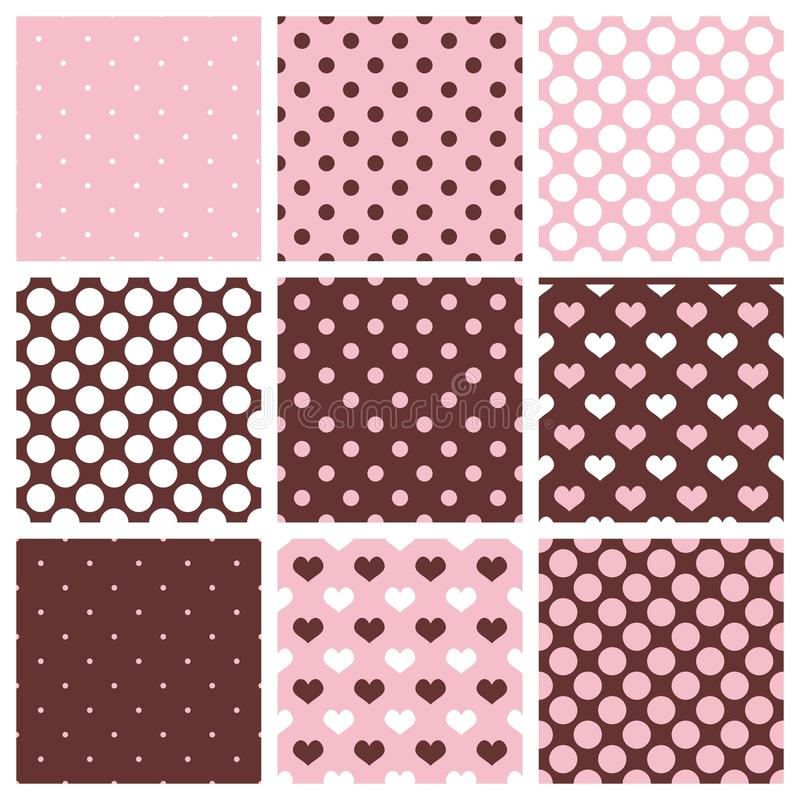 Tile vector pattern set with polka dots and hearts on pastel background. royalty free illustration