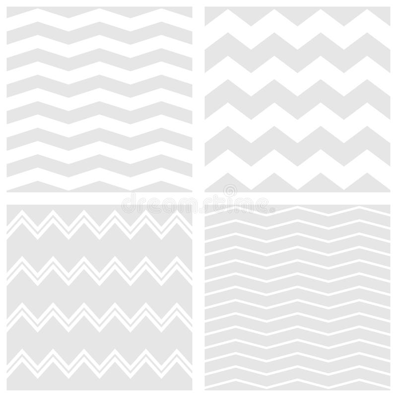 Tile vector pattern set with white and grey zig zag background vector illustration