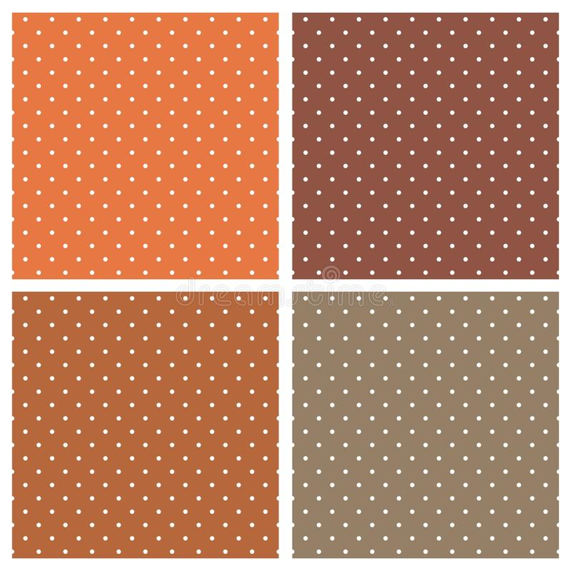 Tile vector pattern set with white polka dots on orange and brown background stock illustration