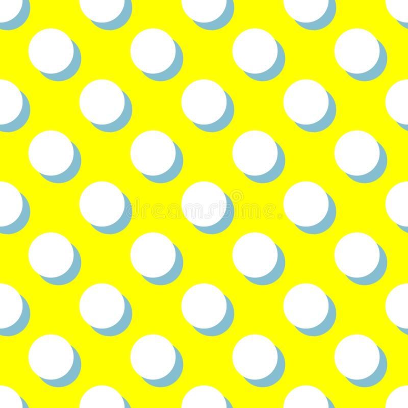Tile vector pattern with white polka dots and mint green shadow on yellow background. For decoration wallpaper vector illustration