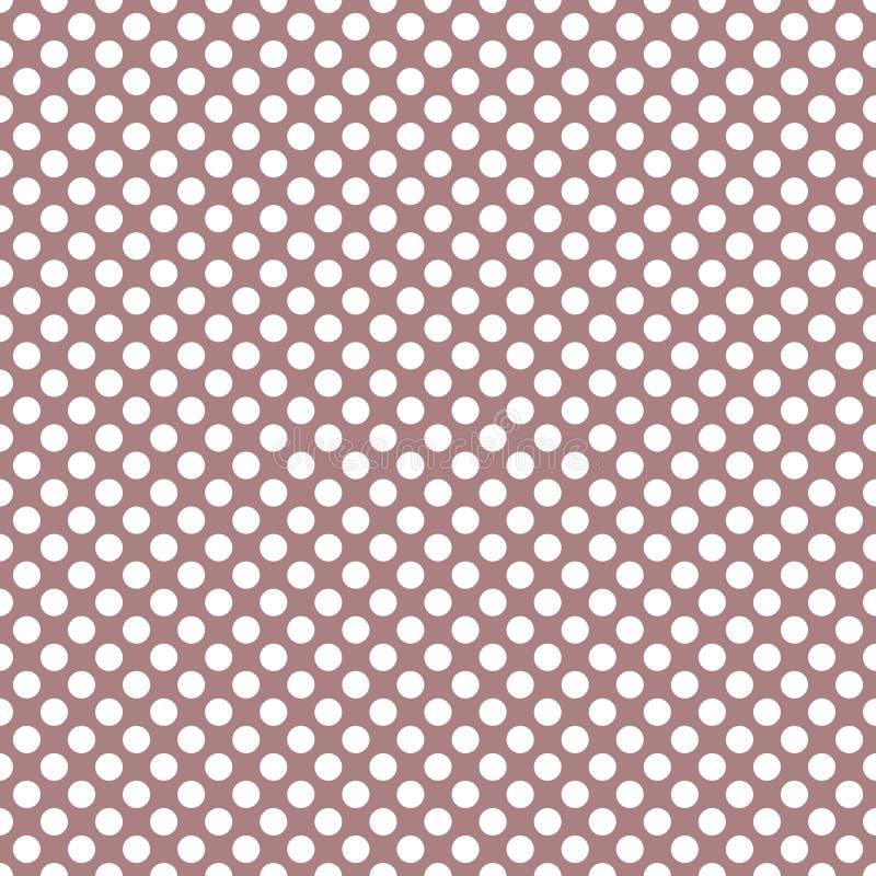 Tile vector pattern with white polka dots on pastel violet pink background stock illustration