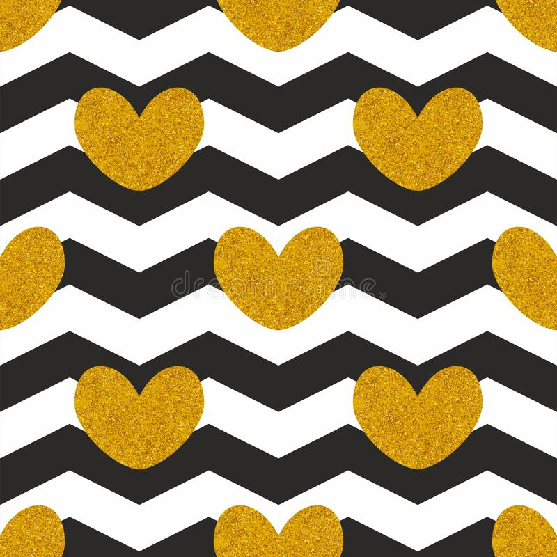 Tile vector pattern witn golden hearts and black and white chevron zig zag background. For seamless decoration wallpaper stock illustration