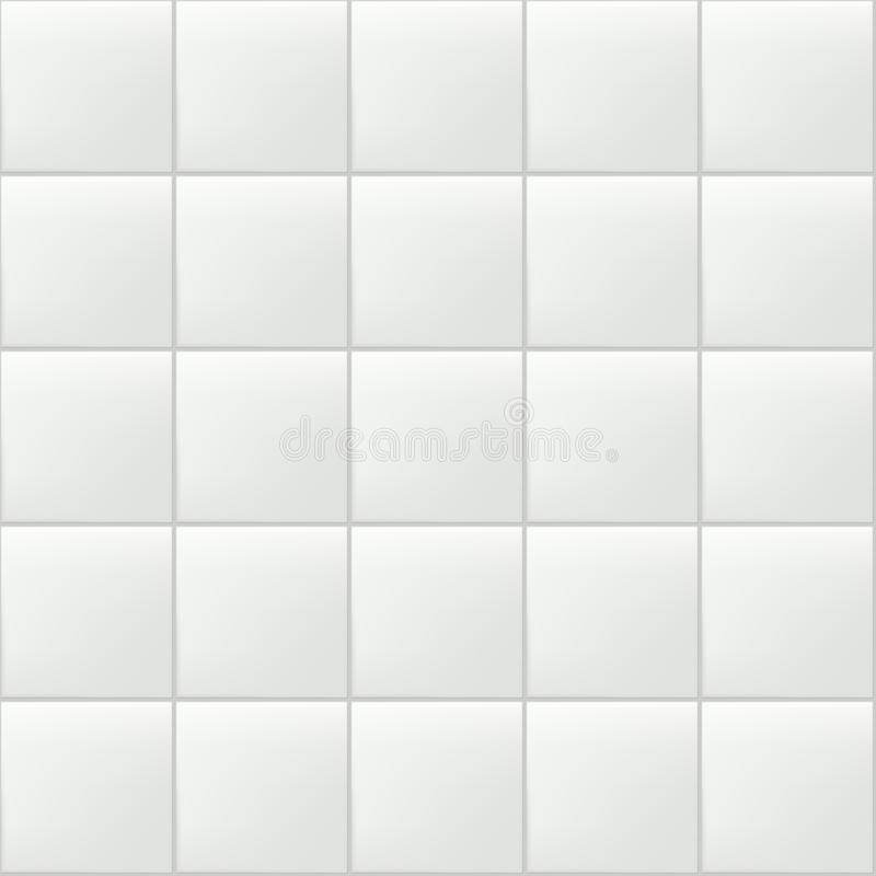 Tile vector seamless pattern. White wall or floor realistic ceramic texture. Bathroom, kitchen clean empty background stock illustration