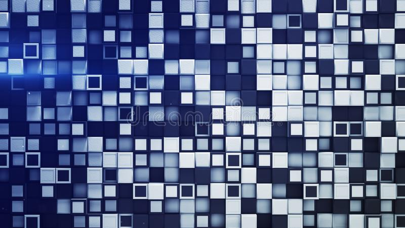Tile of white and blue boxes abstract 3D rendering stock illustration