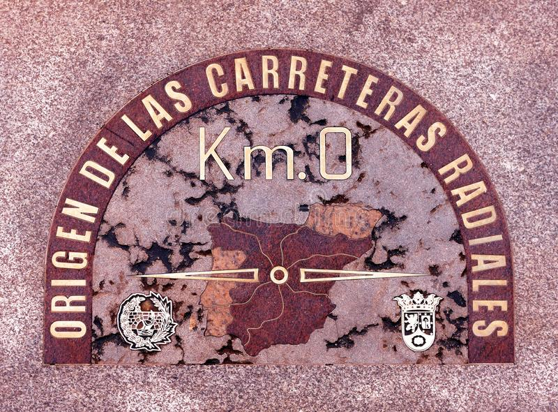 Tile zero km, located in the geographical center of the city of Madrid, Spain stock photos