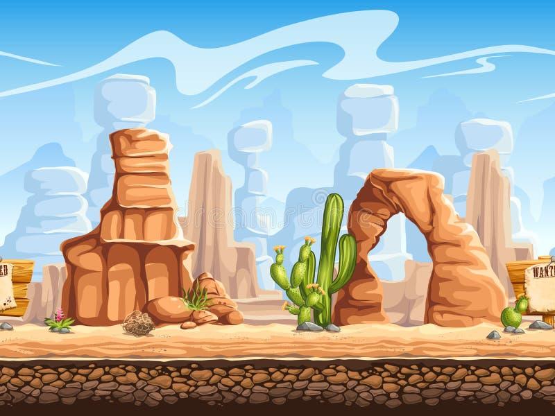 Tileable horizontal background wild west. Set1 vector illustration