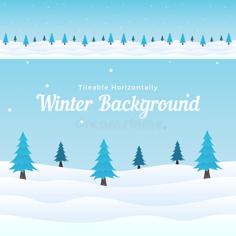 Tileable horizontal winter background vector. Snowy ground with pine tree element for game, banner, poster, cover template design. Eps 10 vector illustration