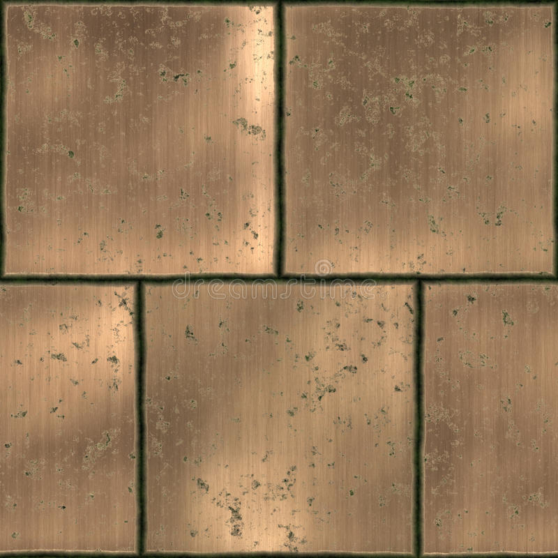 Metal tiles. Collection of staggered metal seamless tiles stock illustration