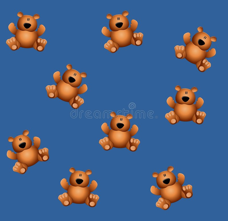 Tileable Teddy Bears Blue vector illustration