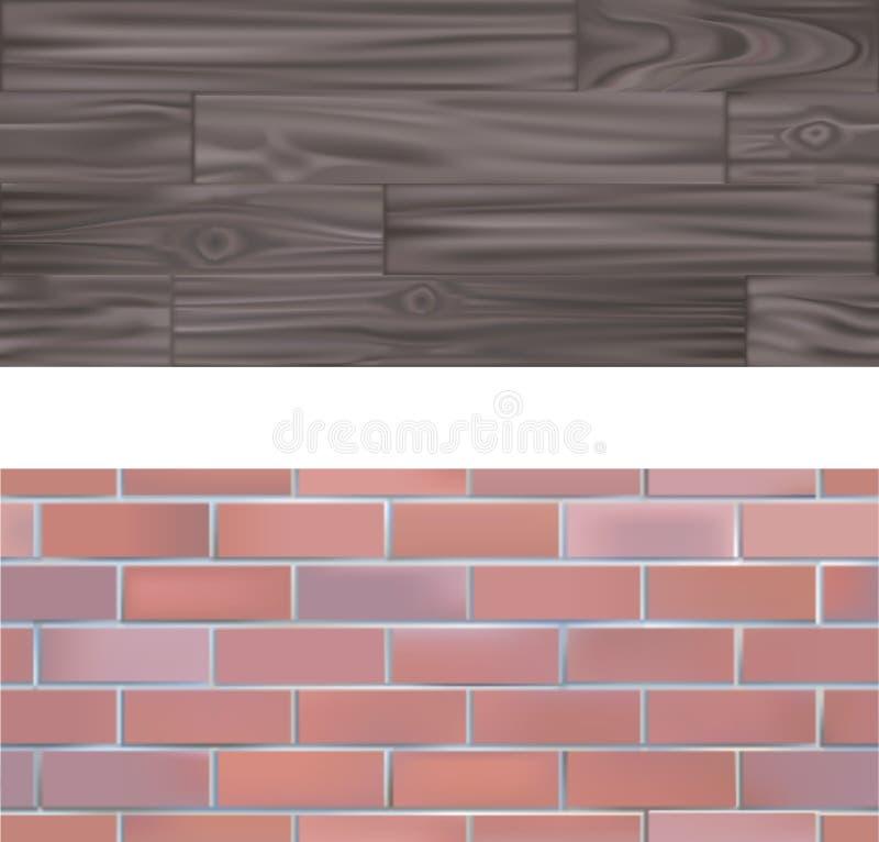 Tileable Ziegelstein und hölzernes Textur lizenzfreie abbildung