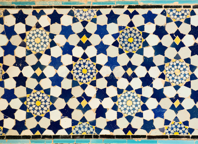 Tiled background. Oriental ornaments from Isfahan Mosque, Iran royalty free stock photography