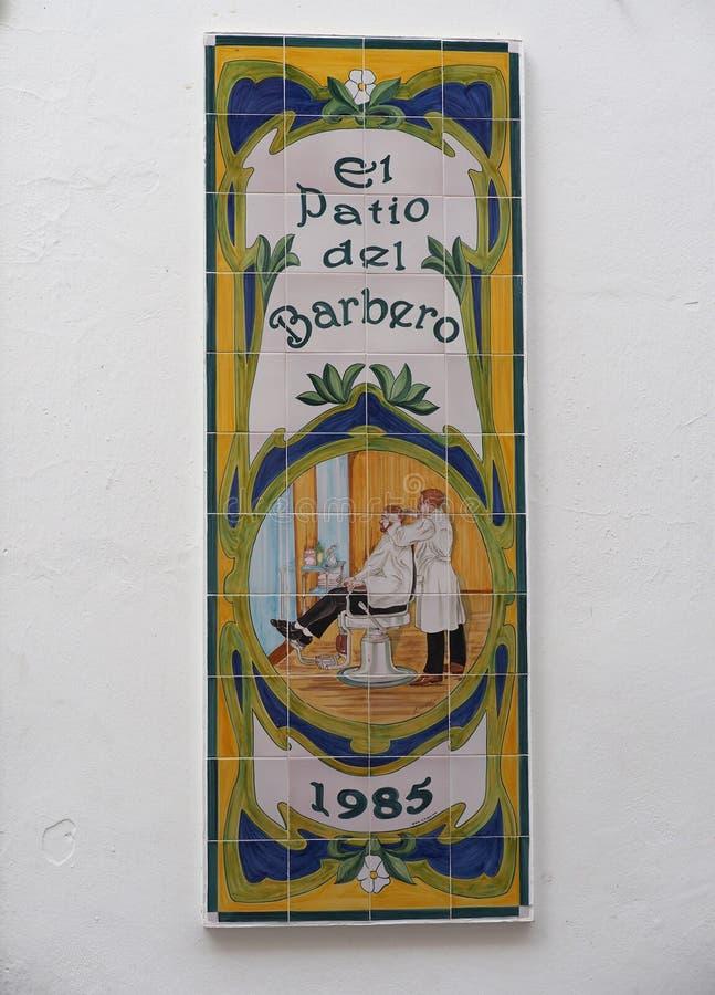 Tiled Barbershop Sign stock photography