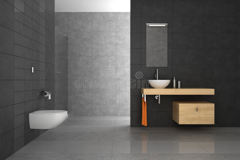 Download Tiled Bathroom With Wood Furniture Stock Photography - Image: 21464432