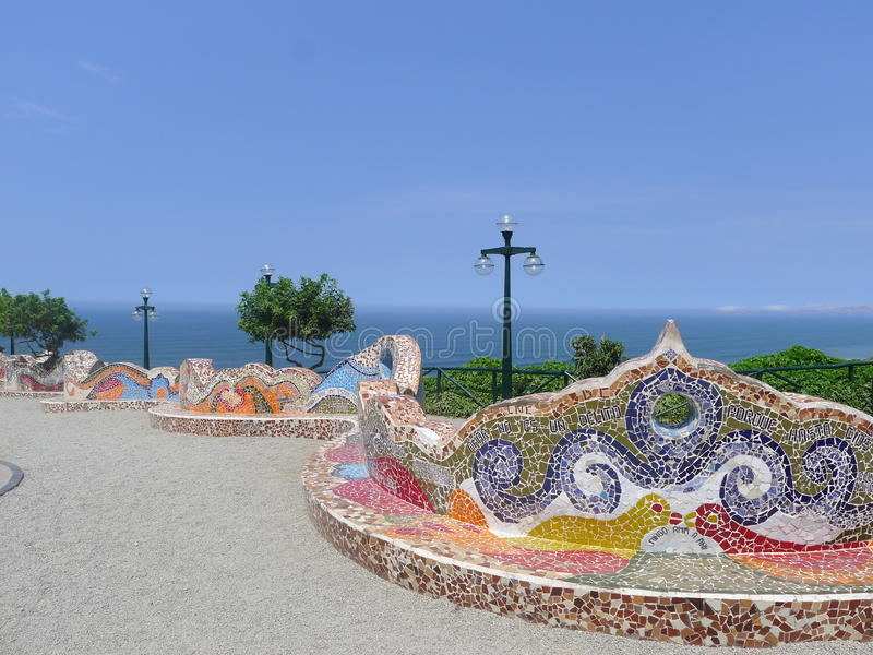 Tiled bench in the Love Park, Miraflores, Lima, Peru. Multi colored tiled bench in El Parque del Amor (The Love Park) in Miraflores touristic district stock images