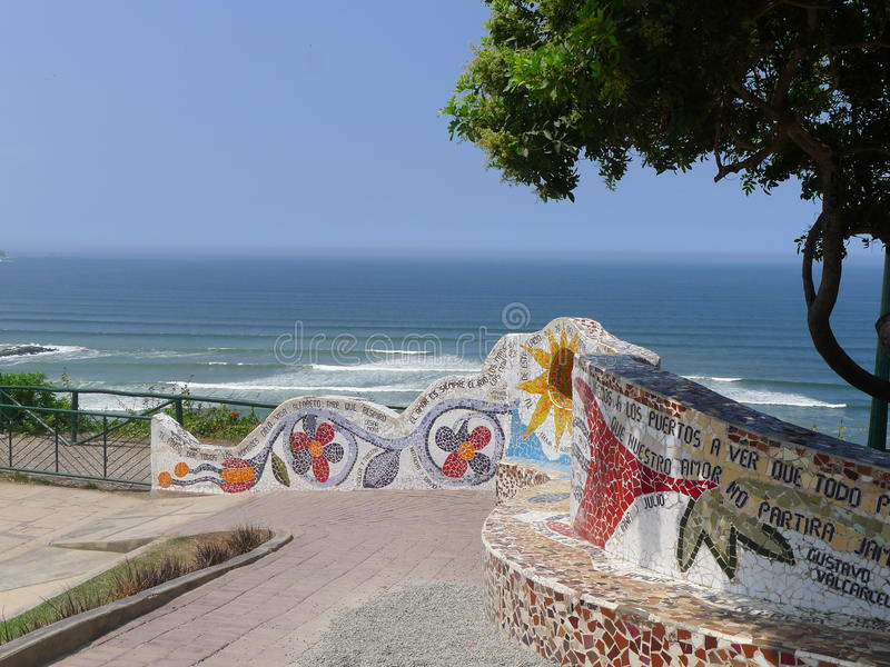 Tiled benches in the Love park, Miraflores, Lima. Scenic view of tiled benches in El Parque del Amor (the Love Park) in Miraflores district of Lima. In the image royalty free stock photos