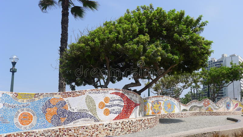 Tiled benches in the Love park, Miraflores, Lima. Scenic view of tiled benches in El Parque del Amor (the Love Park) in Miraflores district of Lima. In the image royalty free stock photo