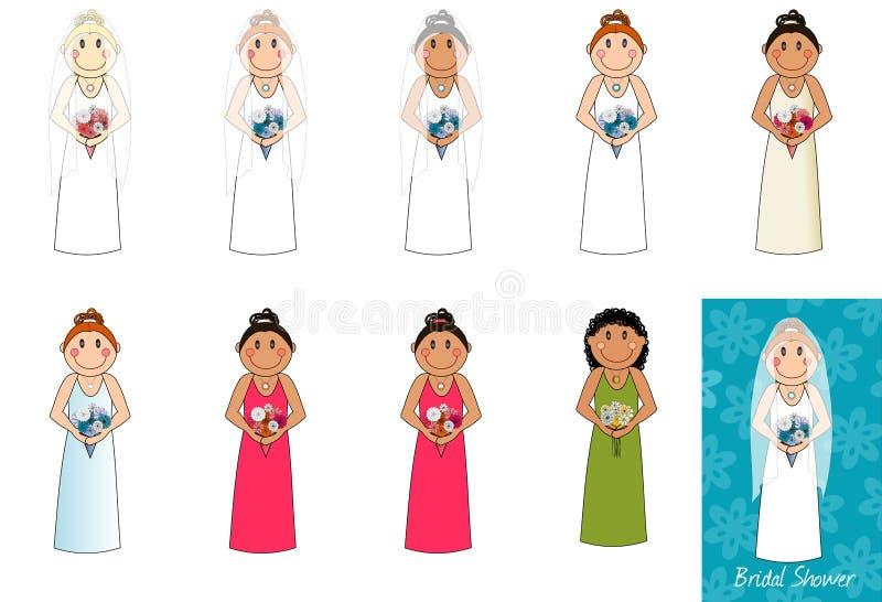 Tiled_brides stock illustratie