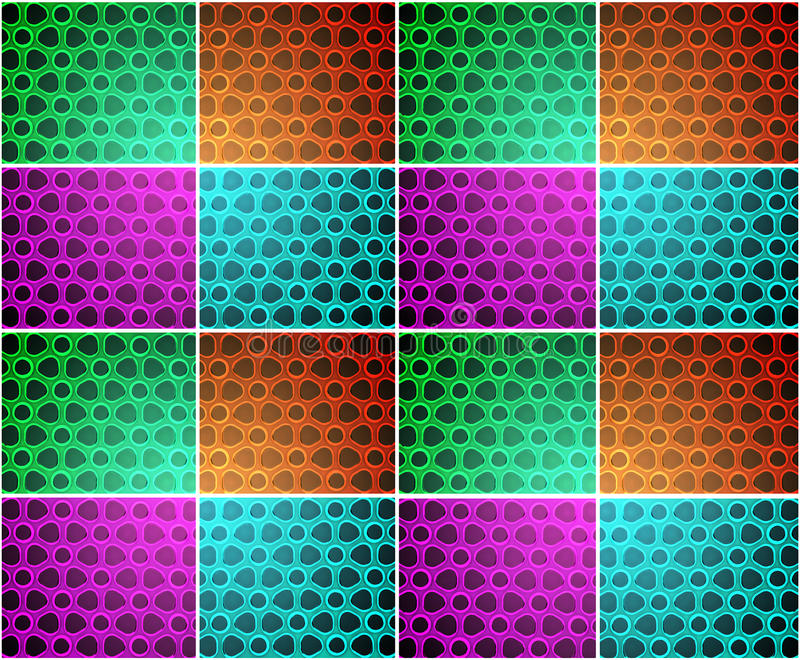 Tiled bubble blob background - multicolour. Abstract tiled background with shaded effect stock image
