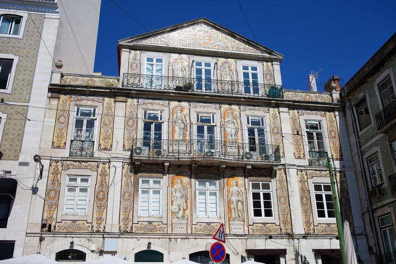 Tiled Building in Chiado District of Lisbon royalty free stock image