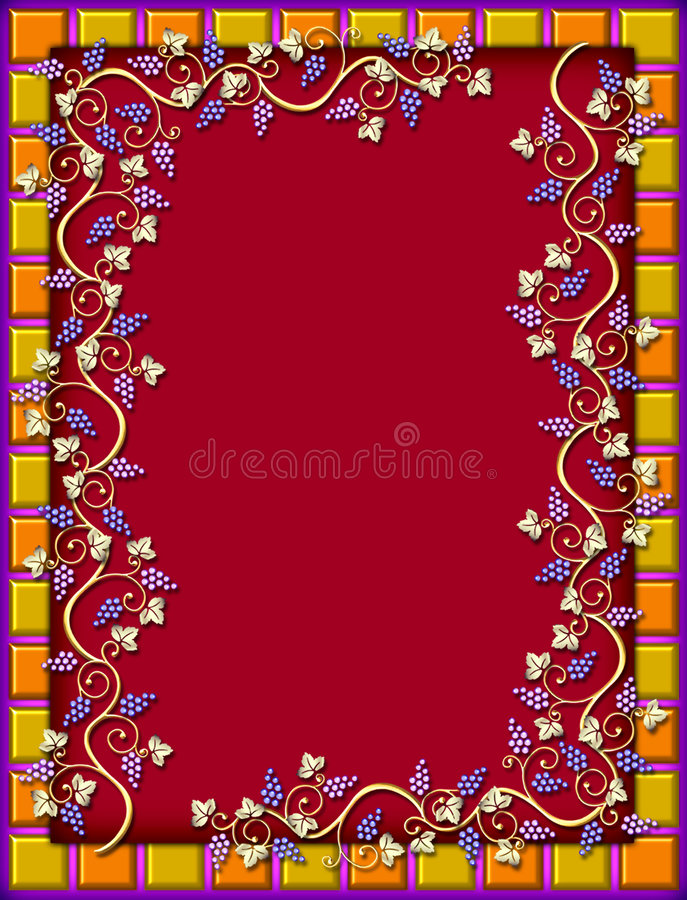 Tiled frame with golden grape vines royalty free stock images