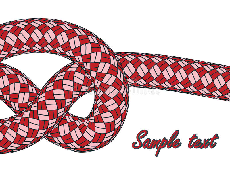 Tiled knot on red climbing rope