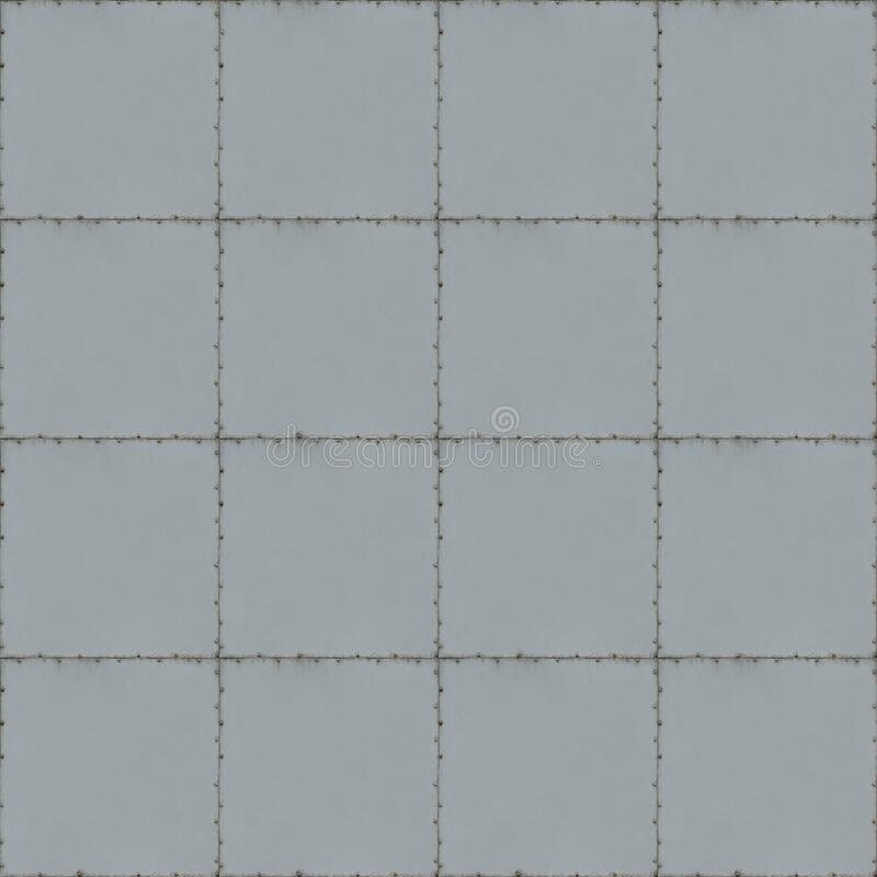 Tiled Metal Background With Seams and Screws stock image