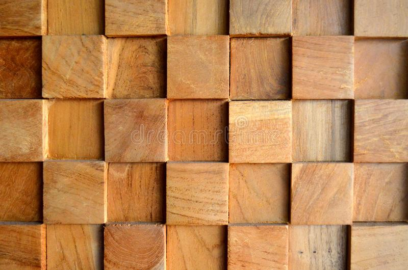 Tiled Old Teak Wood texture wall background for design and decoration. Texture of wood background closeup. stock image
