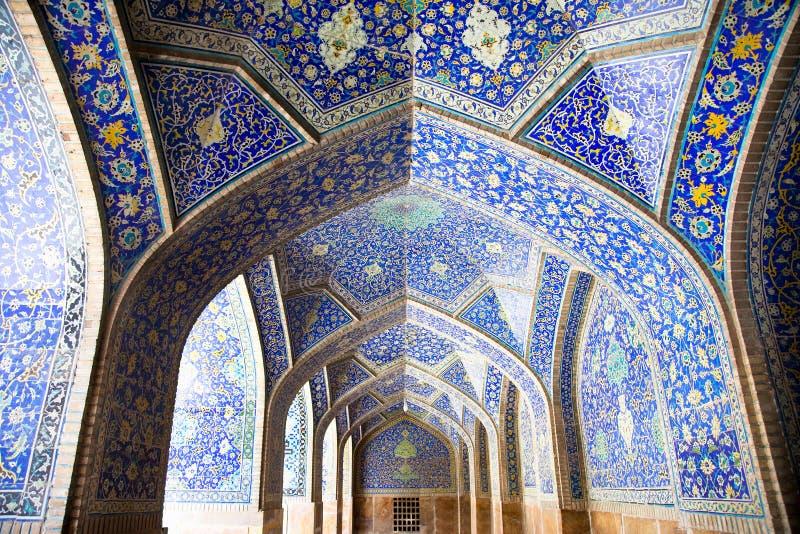 Tiled orienta arcs on Jame Abbasi mosque royalty free stock photo
