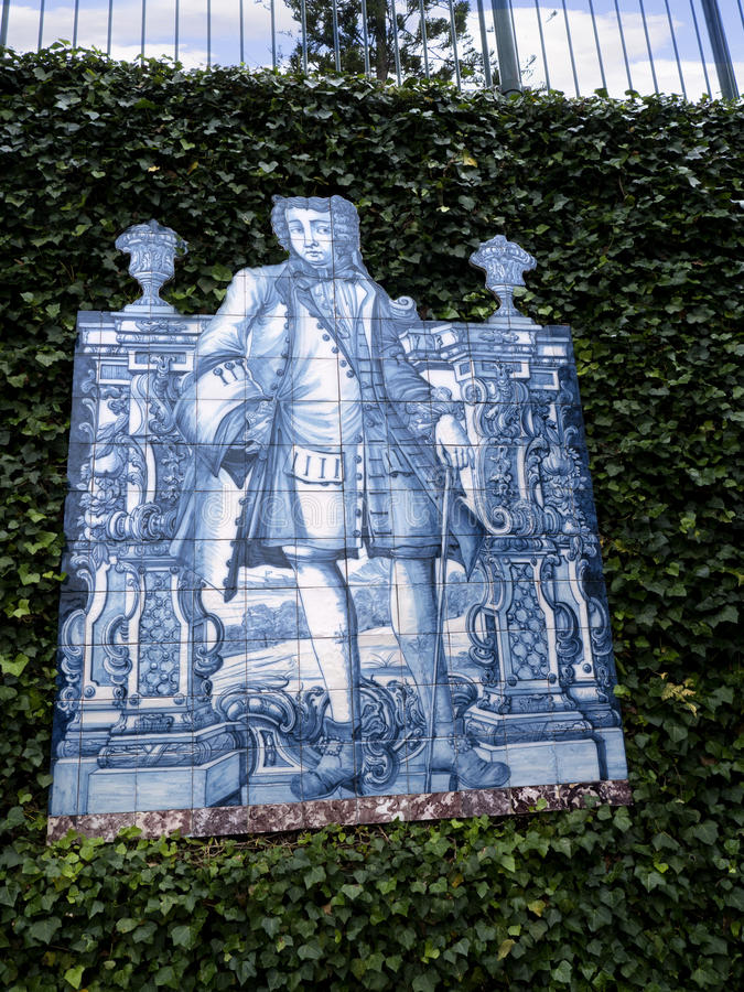 Tiled panel in Tropical Garden at Monte above Funchal Madeira. This wonderful garden is at the top of the cablecar from the seafront in Funchal. It is filled royalty free stock photography