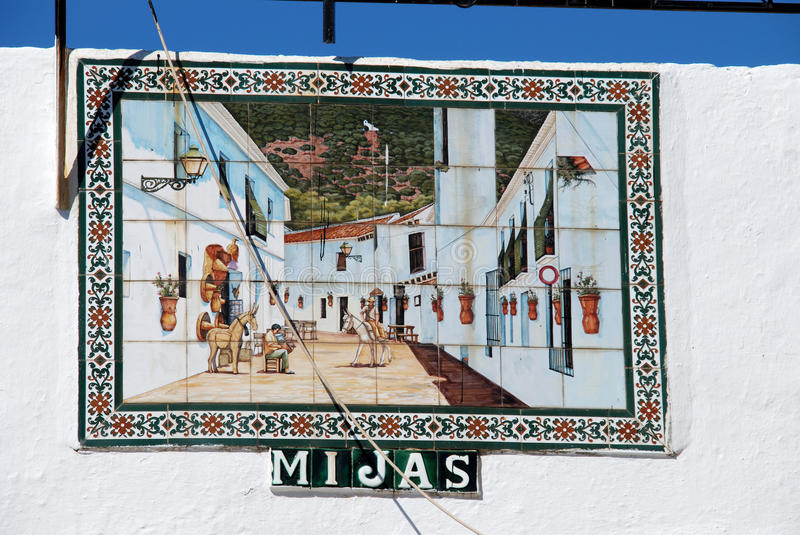 Tiled picture on Mijas bullring. Ceramic tiled village street picture on the bullring wall, Mijas, Malaga Province, Andalucia, Spain, Western Europe stock images