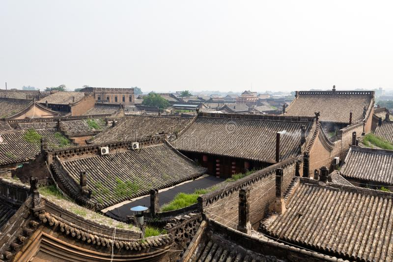 Tiled roof of the ancient city of Pingyao, Shanxi province, China. Known as one of the best preserved historical villages of China, Pingyao is a UNESCO world royalty free stock image
