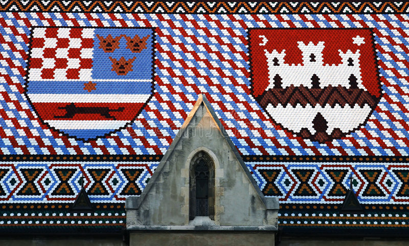 Tiled roof coat of arms stock photos