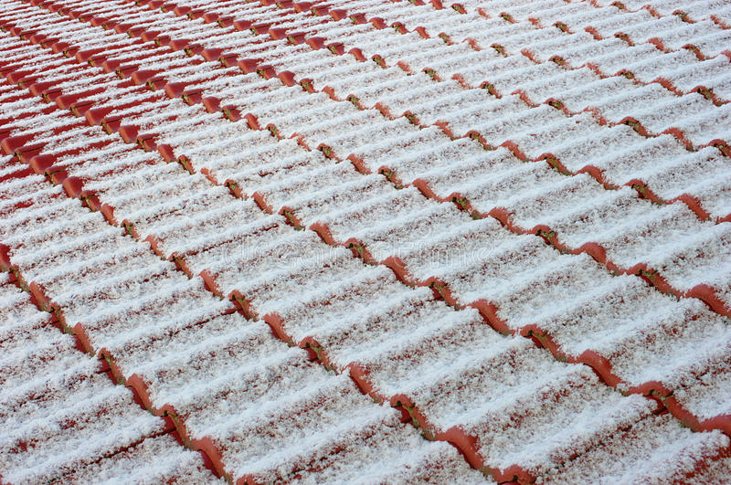 Download Tiled Roof With Snow Powder Stock Image - Image: 13133419