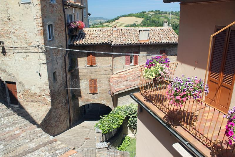 Tiled roofs, balconies and crooked streets of the old part of Na royalty free stock images
