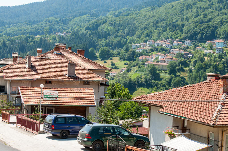 Tiled roofs in Smolyan stock photo