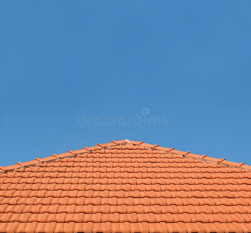 Tiled Rooftop on Blue Sky stock photo