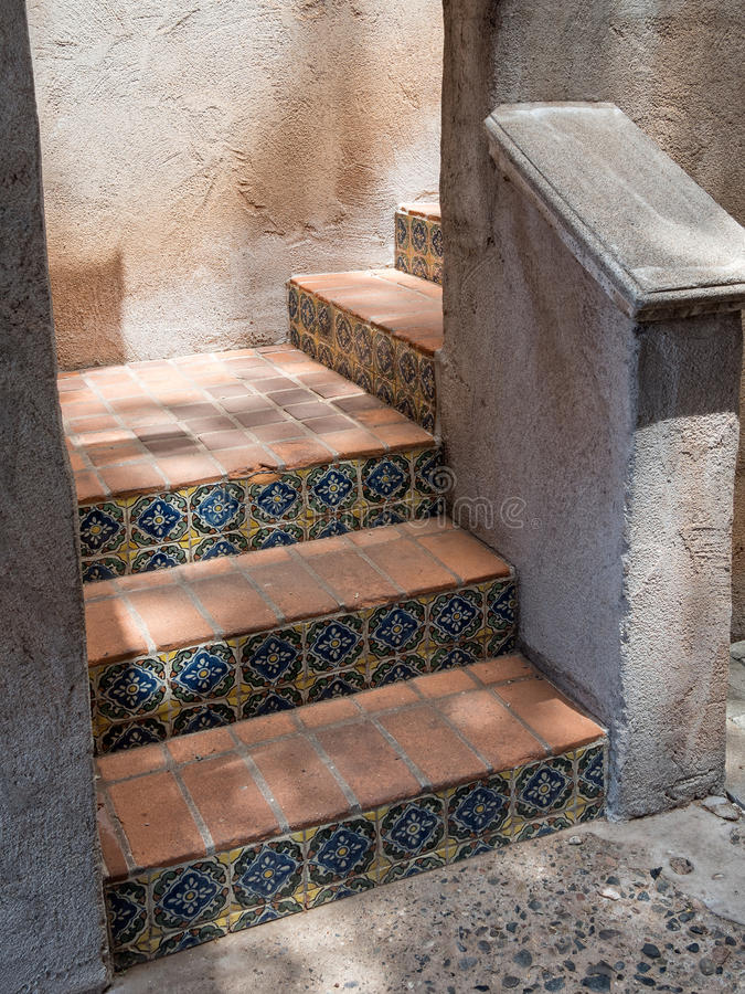 Tiled stairway, Tlaquepaque in Sedona, Arizona. Beautiful tiled steps,Tlaquepaque in Sedona, Arizona royalty free stock photography