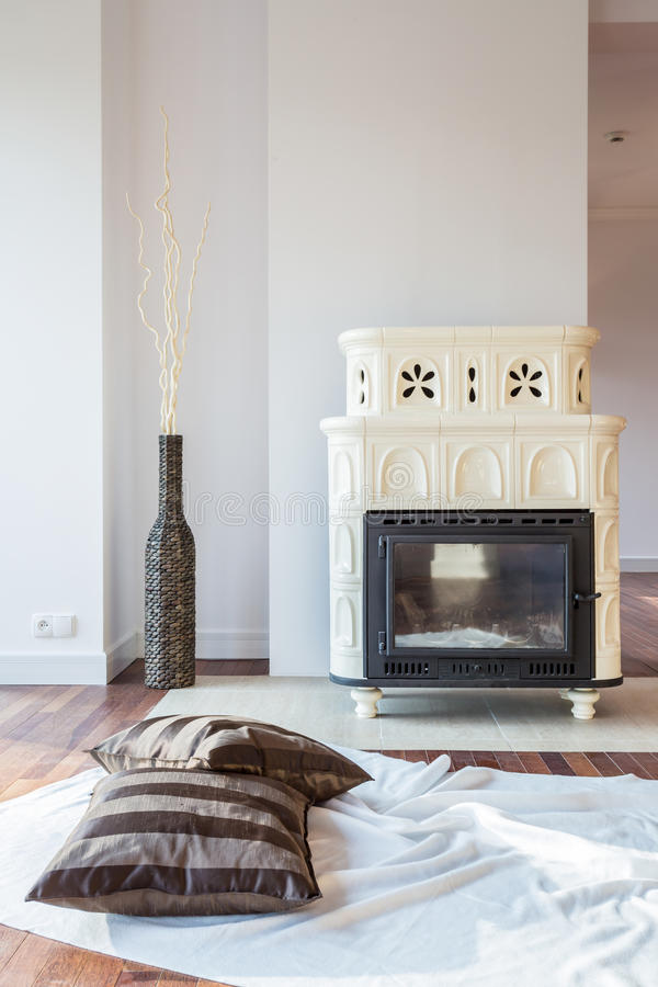 Tiled stove royalty free stock photography