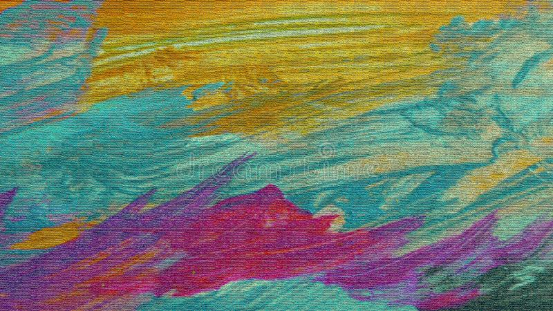Tiled surface. Acrylic patches on canvas. Textured digital paper. Wavy artwork. Nature landscape view. stock illustration