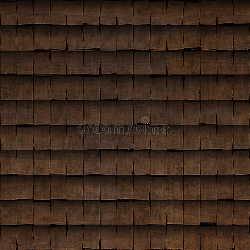 Tiled wood shingle roof texture. In 2048 x 2048 pixels. Tiles seamlessly stock illustration