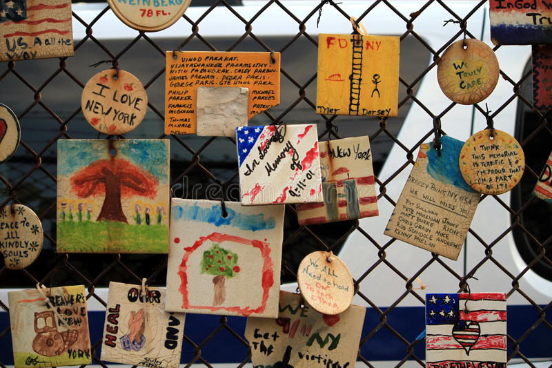 Tiles for America in NYC - remembering 9/11/2001 stock photo