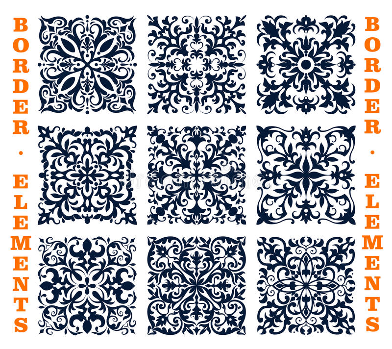 Tiles borders of floral damask vector ornament royalty free illustration