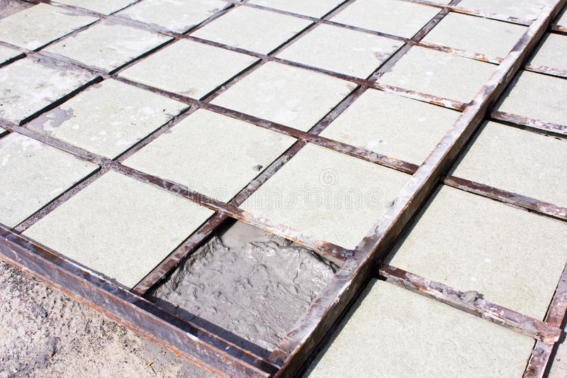 Tiles floor installation ceramic royalty free stock image