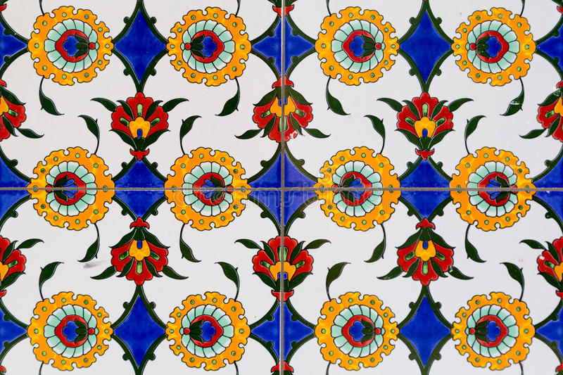 Tiles with floral pattern. Tiles on a wall with floral pattern in Christchurch, New Zealand stock image