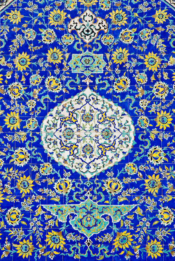 Tiles in isfahan iran. Persian ceramic tiles in isfahan iran stock photos